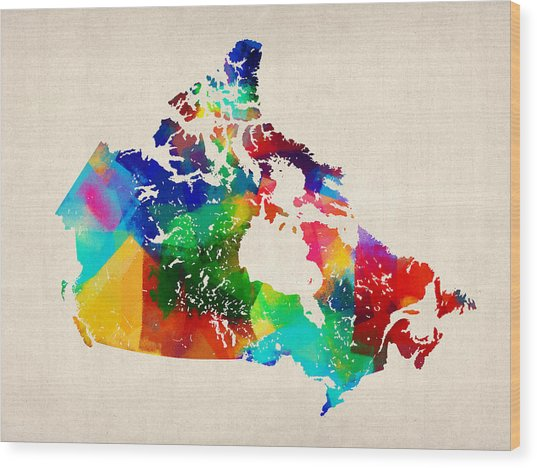 Canada Rolled Paint Map Wood Print by Michael Tompsett