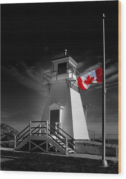 Canadian Flag Half-mast Wood Print
