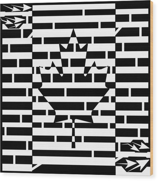 Canadian Flag Maze  Wood Print by Yonatan Frimer Maze Artist