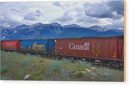 Canadian Freight Train In Jasper #2 Wood Print