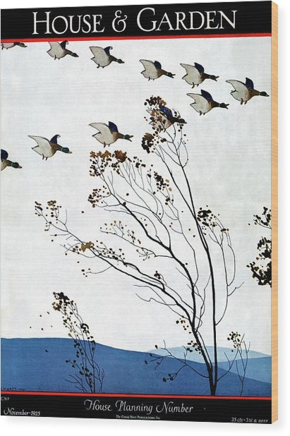 Canadian Geese Over Brown-leafed Trees Wood Print
