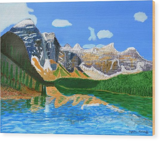 Canadian Mountains And Lake  Wood Print