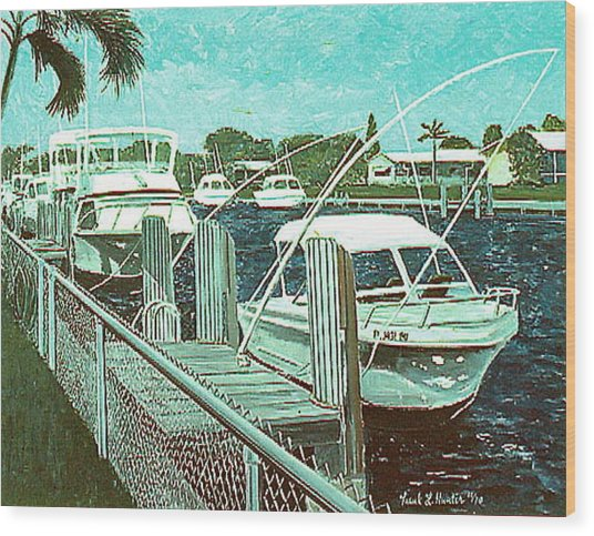 Canal At Pompano Wood Print