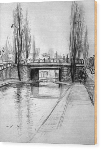 Canal Bridge In Paris Wood Print