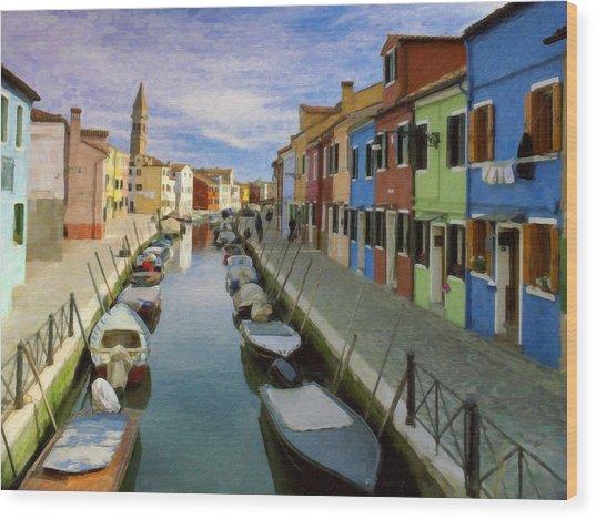 Canal Burano  Venice Italy  Wood Print