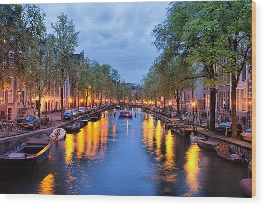 Canal In Amsterdam At Dusk Wood Print