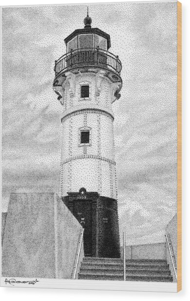 Canal Park Lighthouse Wood Print by Rob Christensen