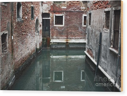 Canal Reflections Wood Print by John Rizzuto