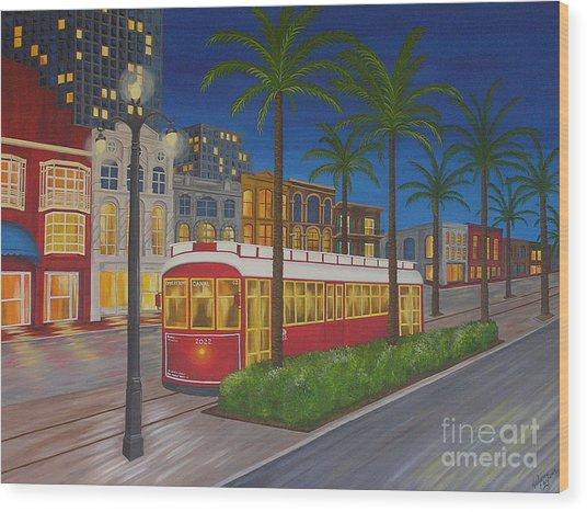 Canal Street Car Line Wood Print