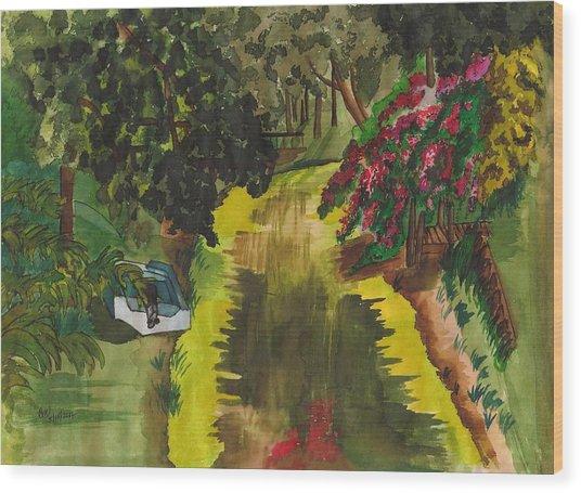 Canal To Lake Clay Wood Print