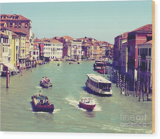 Canale Grande Venice Italy Wood Print by Ernst Cerjak