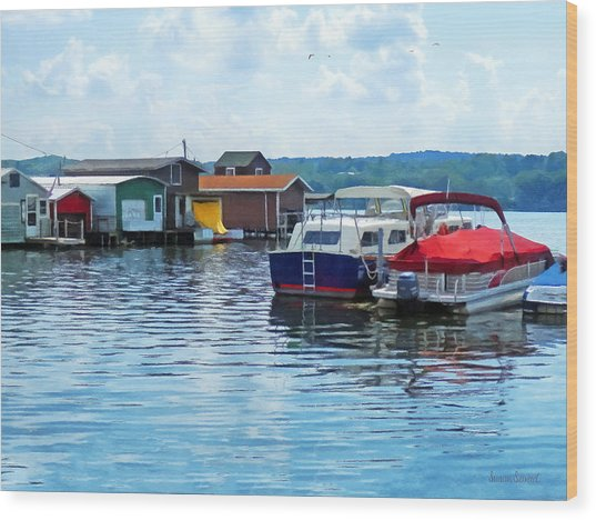 Canandaigua Fishing Shacks Wood Print