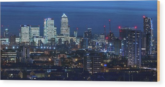 Canary Wharf And Stratford Wood Print by Kenny Mccartney