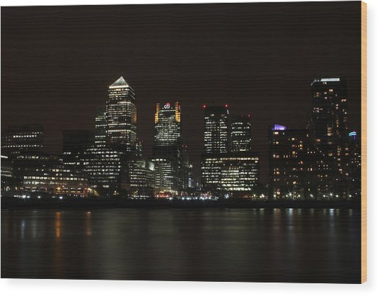 Canary Wharf Skyline Wood Print by Dan Davidson