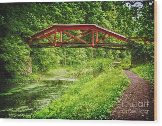 Canal Bridge Wood Print