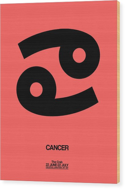 Cancer Zodiac Sign Black Wood Print