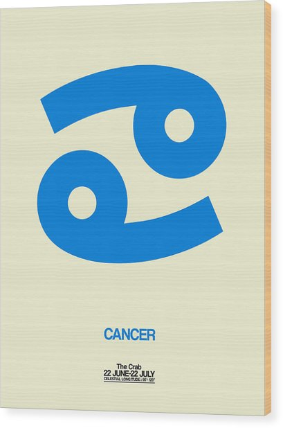 Cancer Zodiac Sign Blue Wood Print