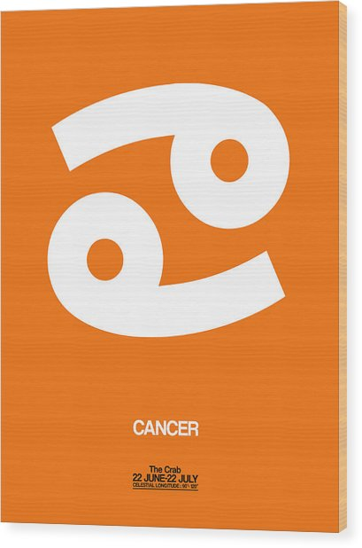 Cancer Zodiac Sign White On Orange Wood Print