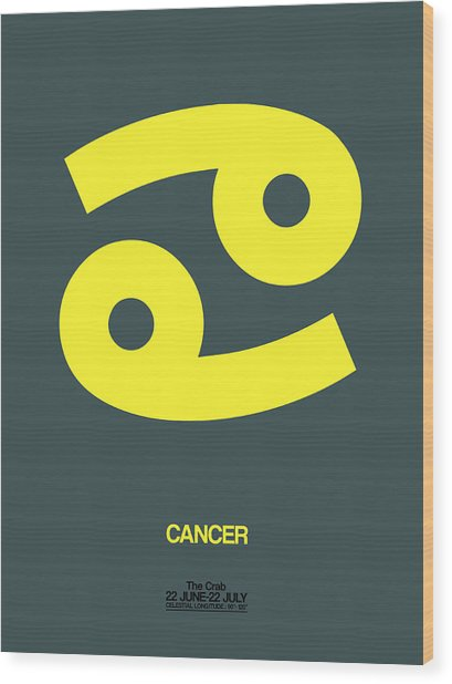 Cancer Zodiac Sign Yellow Wood Print