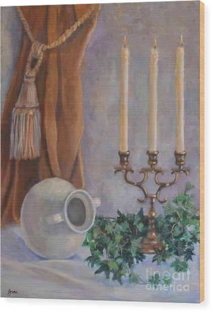 Candelabra With White Vase Wood Print by Jana Baker