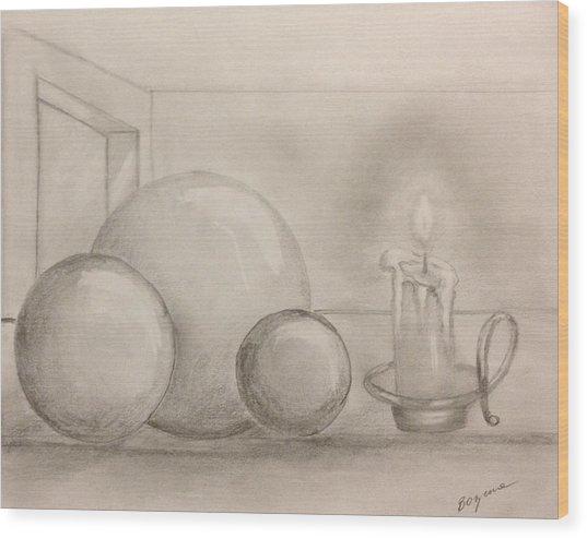 Candle And Balls Wood Print