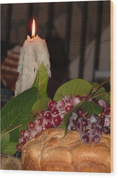 Candle And Grapes Wood Print