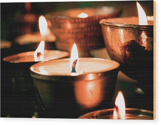 candle light ZUTHRUL PHUG MONASTERY Milarepas Cave Wood Print