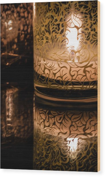 Candle Reflections Wood Print