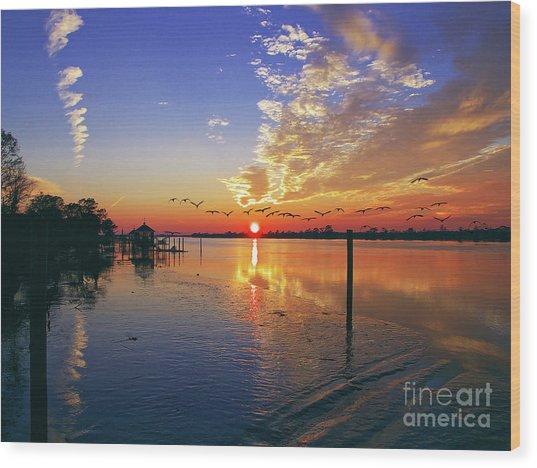 Candlelight Sunset Wood Print