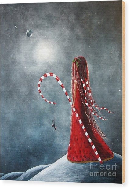 Candy Cane Fairy By Shawna Erback Wood Print by Erback Art