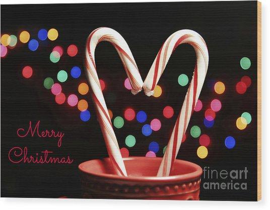 Candy Cane Heart Card Wood Print