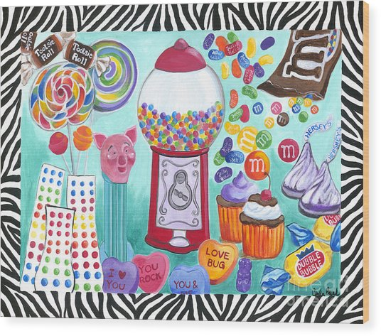 Wood Print featuring the painting Candy Window by Carla Bank