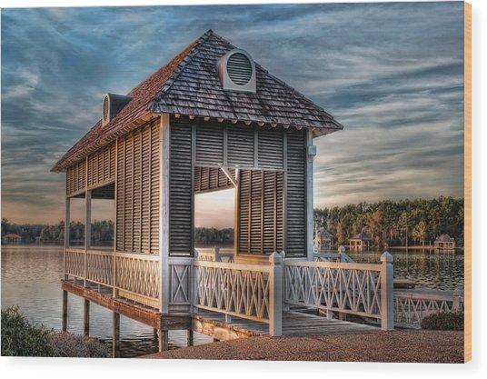 Canebrake Boat House Wood Print