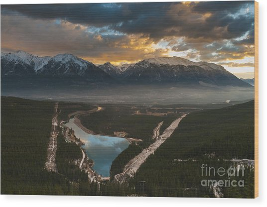 Canmore Sunrise Wood Print by Ginevre Smith