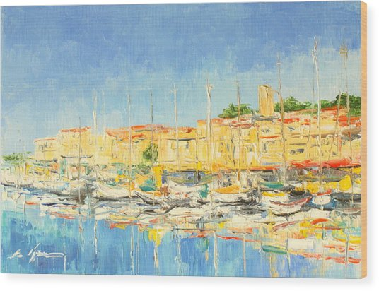 Cannes Harbour Wood Print