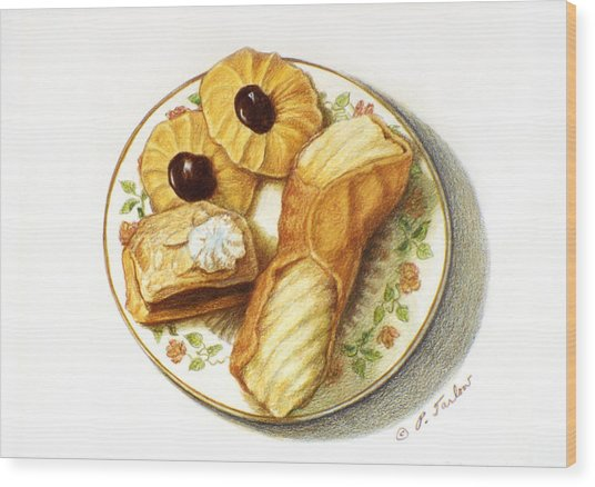 Cannoli And Cookies Food Still Life Wood Print
