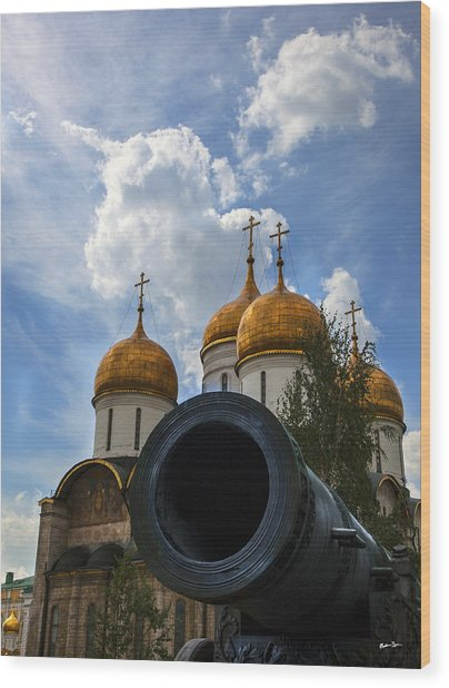 Cannon And Cathedral  - Russia Wood Print