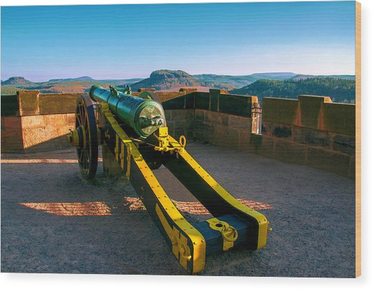Cannon At The Fortress Koenigstein Wood Print