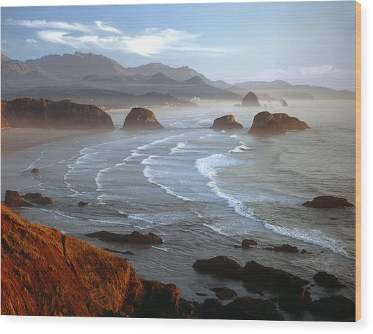 Cannon Beach At Sunset Wood Print