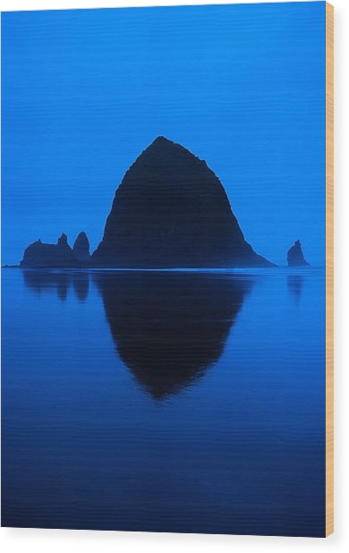 Cannon Beach Blue Wood Print