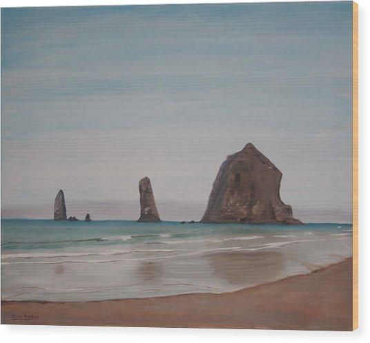 Cannon Beach Haystack Rock Wood Print