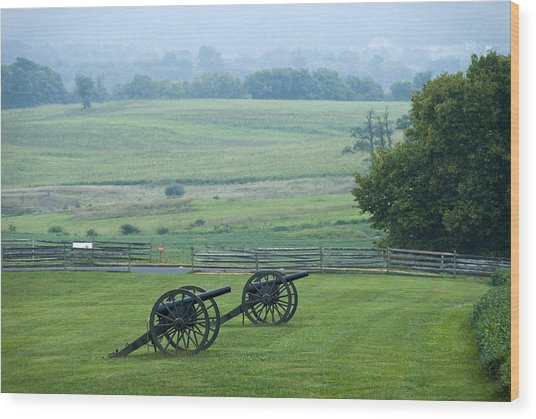 Cannon, Misty Morning, Antietam Nat Wood Print