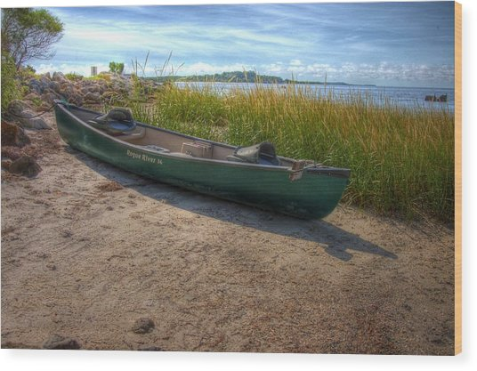 Canoe At Cedar Key Wood Print