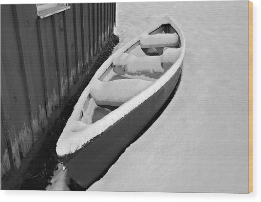 Canoe In The Snow Wood Print