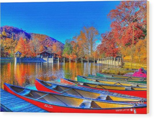Canoe In Waiting Wood Print