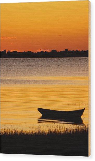 Canoe Sunrise Wood Print by Brian Magnier