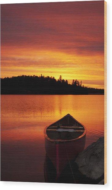 Canoe Sunset Wood Print