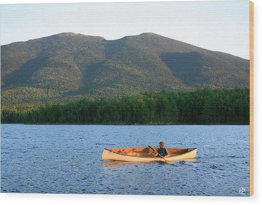 Canoeing Flagstaff Lake Wood Print