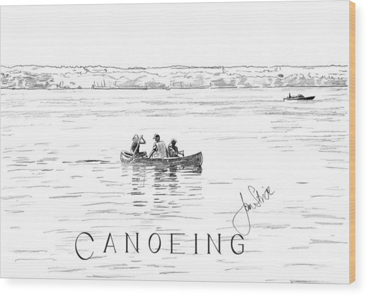 Canoeing On The Lake Wood Print by Jan Stride