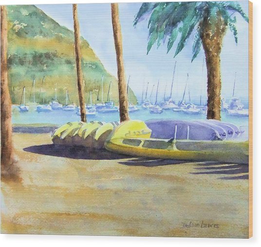 Canoes And Surfboards In The Morning Light - Catalina Wood Print